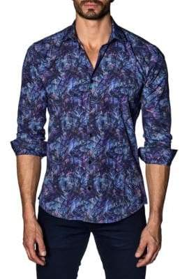 Jared Lang Printed Cotton Button-Down Shirt