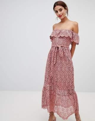 NA-KD Lace Off Shoulder Dress