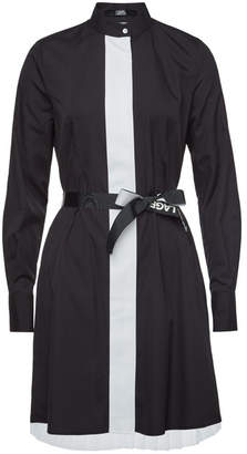 Karl Lagerfeld Cotton Shirt Dress with Pleated Skirt