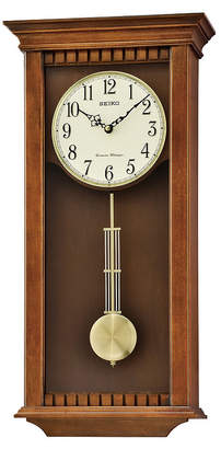 Seiko Traditional Classics Wall Clock With Pendulum And Chime Brown Qxh064blh
