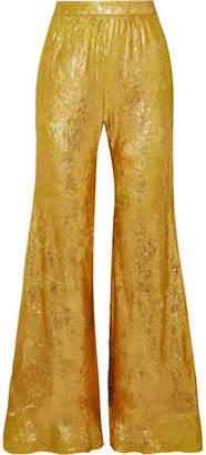 Halpern Metallic Georgette Flared Pants