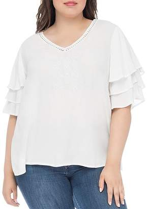 Bobeau B Collection by Curvy Clare Tiered-Sleeve Top