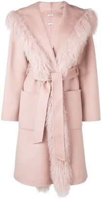 P.A.R.O.S.H. fur trim belted coat