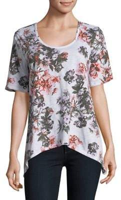 Lord & Taylor Petite Floral Asymmetrical Cotton Tee