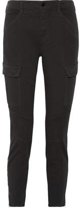 J Brand - Houlihan Cropped Cotton-blend Twill Skinny Pants - Charcoal $230 thestylecure.com