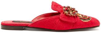 Dolce & Gabbana Crystal and butterfly-print backless loafers