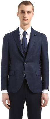 Lardini Wool & Linen Bird's Eye Unlined Jacket