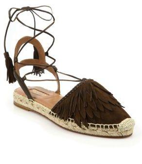 Aquazzura Pocahontas Fringed Suede Lace-Up Espadrille Flats $650 thestylecure.com
