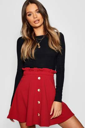 boohoo Paperbag Waist Mock Horn Button Skater Skirt