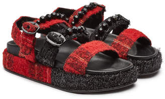 Simone Rocha Tartan Leather Sandals with Crystal Embellishment