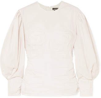 Isabel Marant Maya Ruched Cotton-poplin Top - White