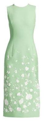 Oscar de la Renta Threadwork Floral Embroidered Midi Dress
