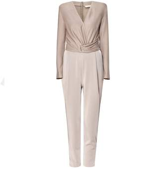 PAISIE - Wrap Front Jumpsuit With Waist Detail In Taupe