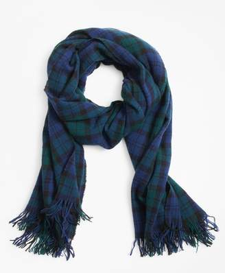 Brooks Brothers Black Watch Plaid Wool Scarf