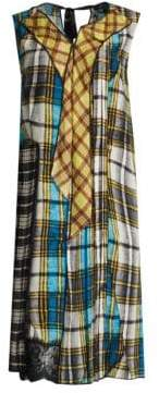 Marc Jacobs Plaid Pleated Front Panel Dress