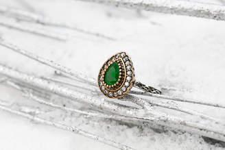 Sultana Sultanesque Silver Emerald Green Teardrop Ring