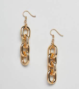 Glamorous gold chain link drop earrings