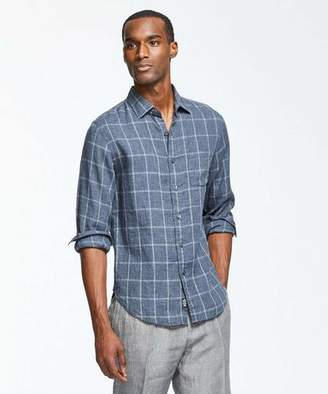 Todd Snyder Linen Grey Windowpane Shirt