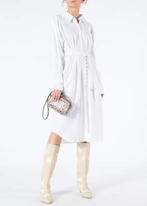 Tibi Watts Oxford Shirtdress with Zipper Detail