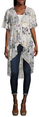 Almost Famous Short Sleeve Floral Kimono-Juniors
