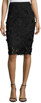 Milly 3D Floral-Embroidered Lace Pencil Skirt $325 thestylecure.com