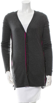 Vera Wang Silk-Accented V-Neck Cardigan w/ Tags $110 thestylecure.com