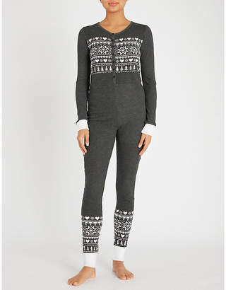 Wildfox Couture Fair Isle printed jersey onesie