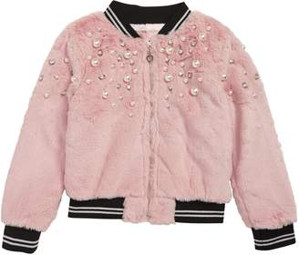 Truly Me Faux Fur Imitation Pearl Bomber