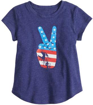 Toddler Girl Family Fun American Flag Peace Sign Graphic Tee