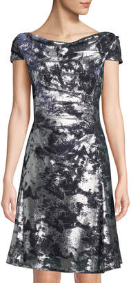 Tahari ASL Cap-Sleeve Shimmer Burnout Dress