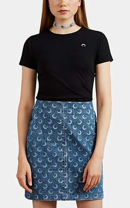 Marine Serre Women's Moon-Graphic Cotton Jersey T-Shirt - Black