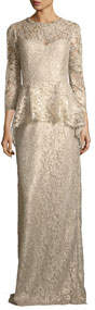 Lace Applique Long Peplum Three-Quarter Sleeve Gown