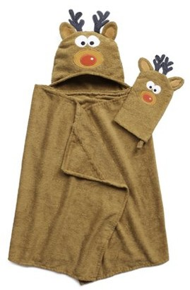 ADI Tub Time Tots Reindeer Hooded Kids Bath Wrap with Mitt - 2 Piece Set
