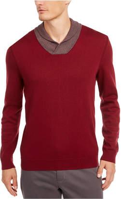 Tasso Elba Men Contrast Shawl-Collar Supima Cotton Sweater