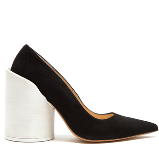 JACQUEMUS Sculptured-heel suede pumps $447 thestylecure.com