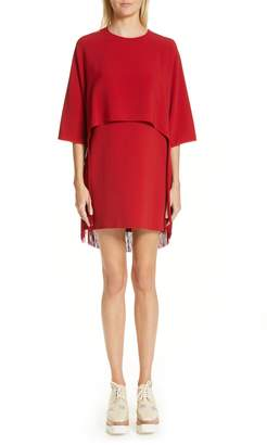 Stella McCartney Fringe Overlay Stretch Cady Dress
