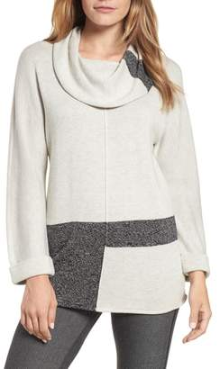 Nic+Zoe Rooted Cowl Neck Cotton Blend Sweater