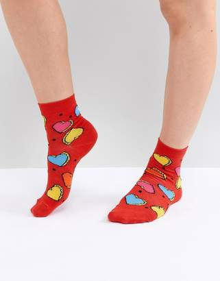 Asos Design Colour Pop Heart Ankle Socks