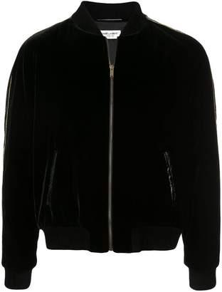Saint Laurent contrast trim velvet bomber jacket