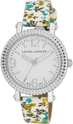Laura Ashley Ladies Blue Floral Band Fluted Bezel Watch La31005Bl