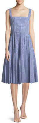 Lela Rose Square-Neck Sleeveless Plaid Fit-and-Flare Dress