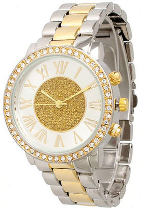 OLIVIA PRATT Olivia Pratt Womens Rhinestone Accent Two-Tone Bracelet Watch 13839