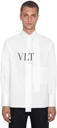 Valentino Oversized Logo Print Cotton Poplin Shirt