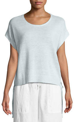 Eileen Fisher Organic Linen Side-Tie Short Poncho Top, Petite