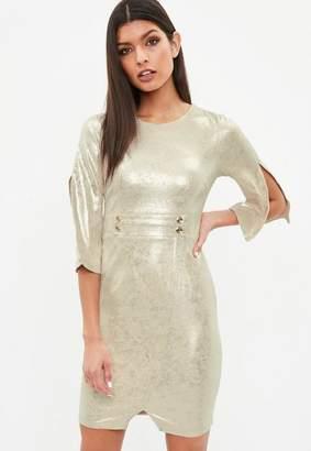 Missguided Gold Button Detail Waist Leather Effect Dress, Cream