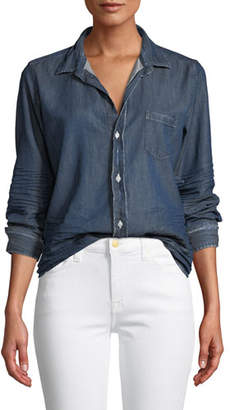 Frank And Eileen Barry Distressed Button-Front Cotton Denim Shirt
