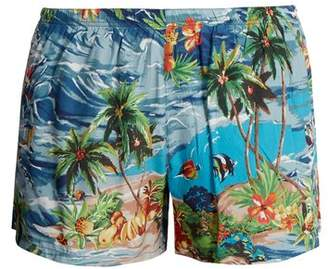Prada Paradise Print Swim Shorts - Mens - Blue Multi