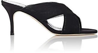 Manolo Blahnik Women's Drapiamu Tulle & Satin Sandals - Black Fabric
