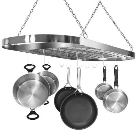 TRYIF Pot and Pan Rack for Ceiling with Hooks ?Decorative Oval Mounted Storage Rack ?Multi-Purpose Organizer for Home, Restaurant, Kitchen Cookware, Utensils, Books, Household (Hanging Chrome)