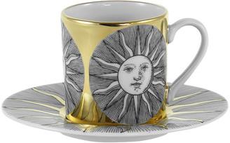 Fornasetti Sole Espresso Cup & Saucer - Black/White/Gold